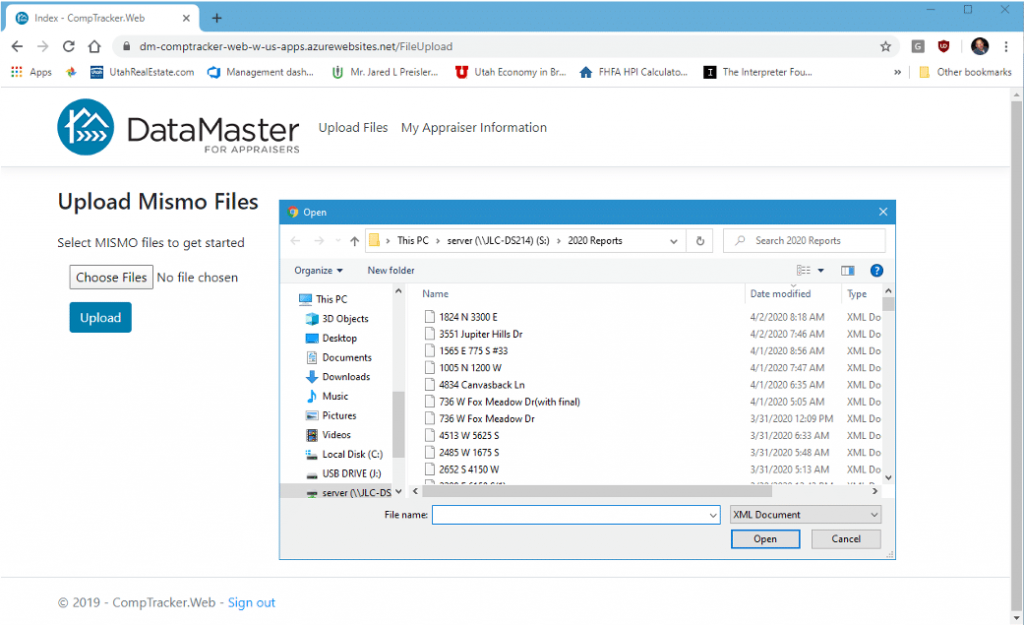 Upload your MISMO files into CompTracker to get all your historical data to show up in CompTracker